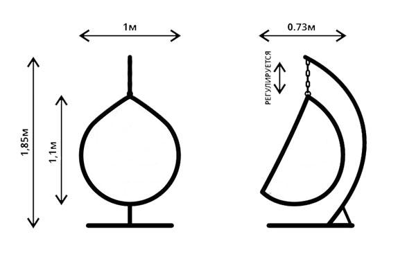 размеры подвесного кресла кокон
