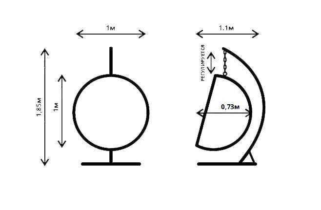 Размеры подвесного кресла из ротанга